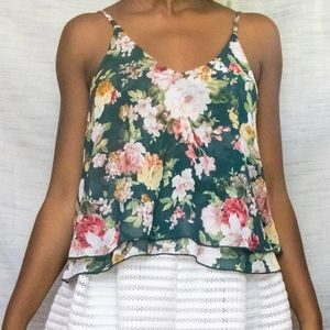 TOBI Low-Back Green Floral Layered Cami